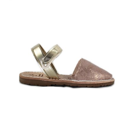 kids menorcan sandal metallic effect